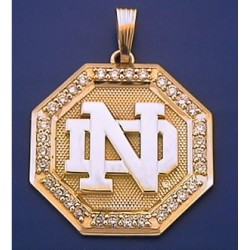 14k Gold & Diamond Octagon Shaped ND Logo Pendant