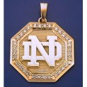 14k Gold & Diamond Octagon Shaped ND Logo Pendant