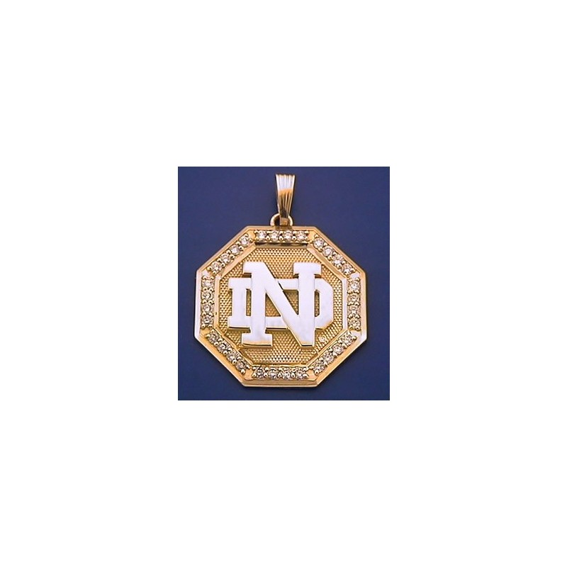 14kt gold diamond octagon shaped nd logo pendant 14k gold diamond octagon shaped nd logo pendant aloadofball Choice Image
