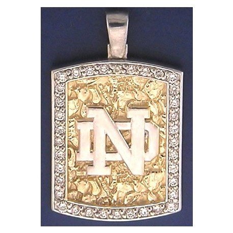 14k Gold & Diamond Two Tone Nugget Pendant