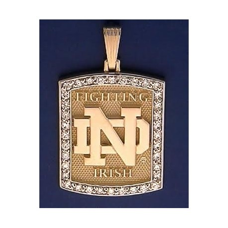 14kt Gold & Diamond ND Fighting Irish Pendant