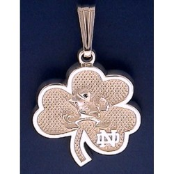 New Shamrock Pendant with Leprechaun & ND Logo