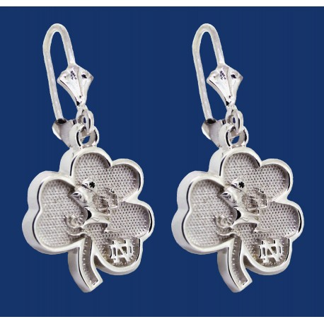 New Shamrock with Leprechaun and ND Logo Earrings