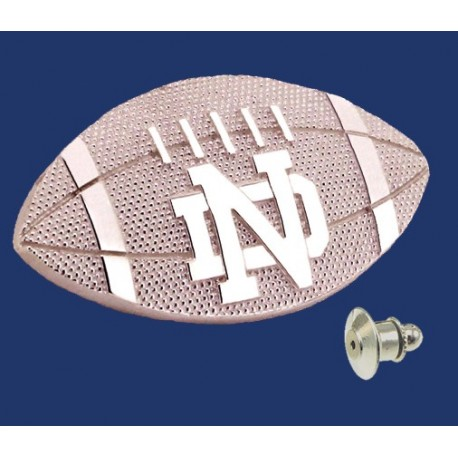 Striped Football Lapel Pin with ND Logo