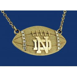 ND Striped Football Necklace with Diamonds