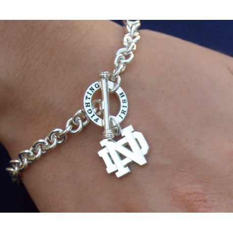 Bracelet with Fighting Irish on Toggle Clasp & Dangling ND