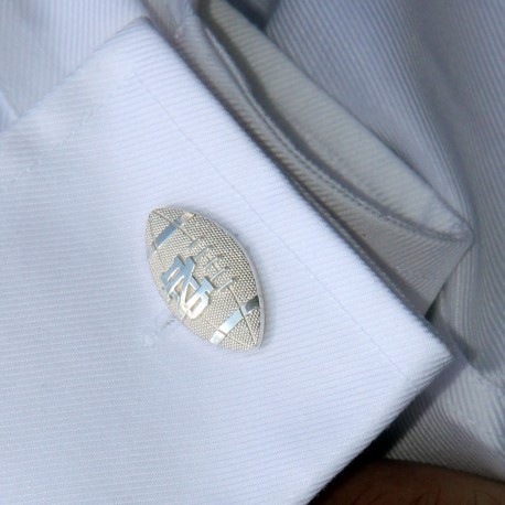 Striped Football Cuff Links with ND Logo